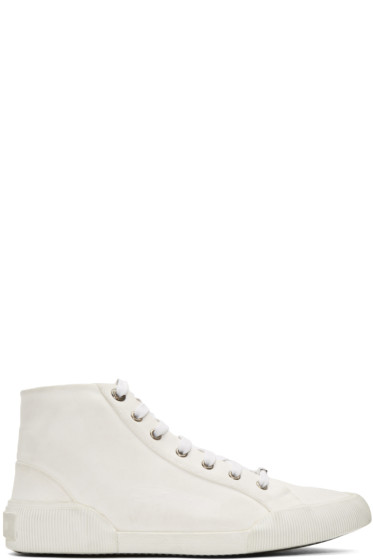 Lanvin - White Distressed Canvas Mid-Top Sneakers