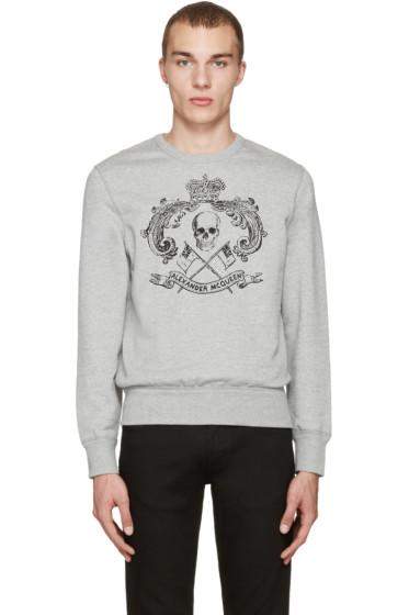 Alexander McQueen - Grey Skull & Crown Pullover