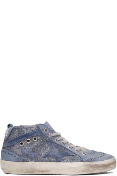 Golden Goose - Blue Glitter Mid Star Sneakers
