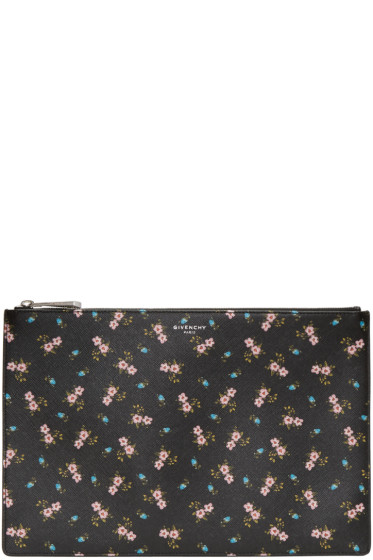 Givenchy - Black & Pink Hibiscus Pouch