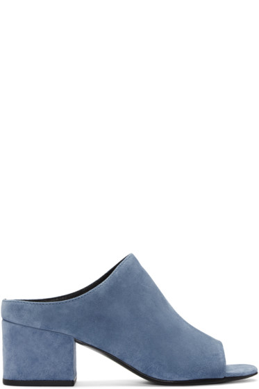 3.1 Phillip Lim - Blue Suede Cube Slip-On Sandals