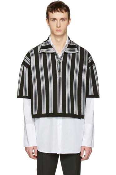 Raf Simons - Black & Grey Stripe Oversized Cropped Polo