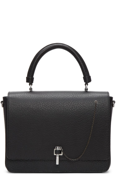 Carven - Black Leather Clasp Bag
