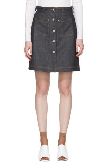 Carven - Indigo Denim Button Miniskirt