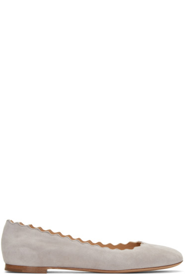 Chloé - Grey Suede Lauren Ballerina Flats
