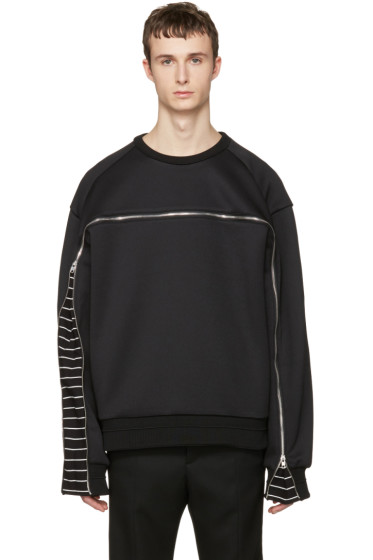 Juun.J - Black Oversized Zipper Pullover
