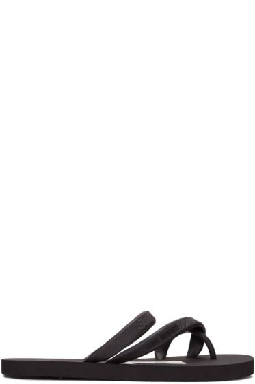 Neil Barrett - Black Thunderbolt Flip Flops
