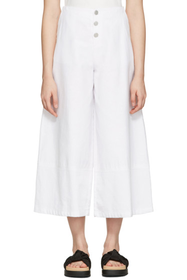 See by Chloé - White Cropped Wide-Leg Trousers