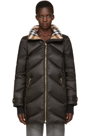 Burberry - Black Down Chevron Quilted Coat