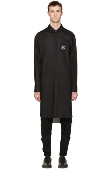 Ann Demeulemeester - Black Long Embroidery Shirt