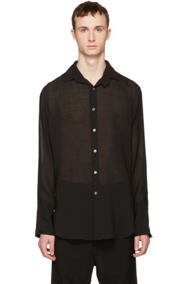 Ann Demeulemeester - Black Sheer Two Button Shirt