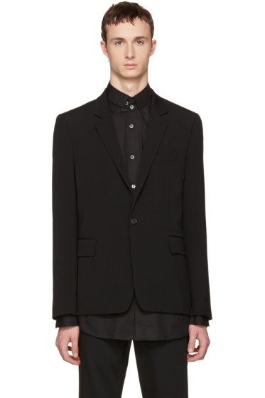 Ann Demeulemeester - Black Wool Single-Button Blazer