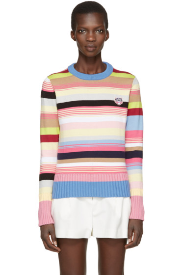 Kenzo - Pink Striped Tiger Crest Pullover