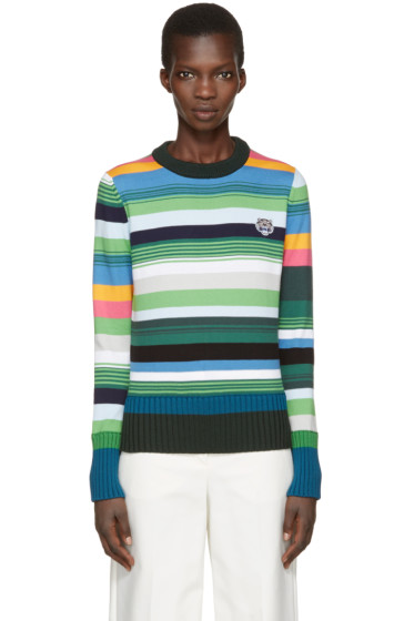 Kenzo - Green Striped Tiger Crest Pullover