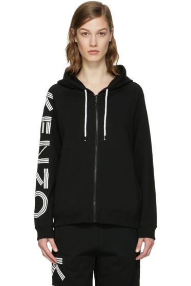 Kenzo - Black Logo Sleeve Zip Hoodie