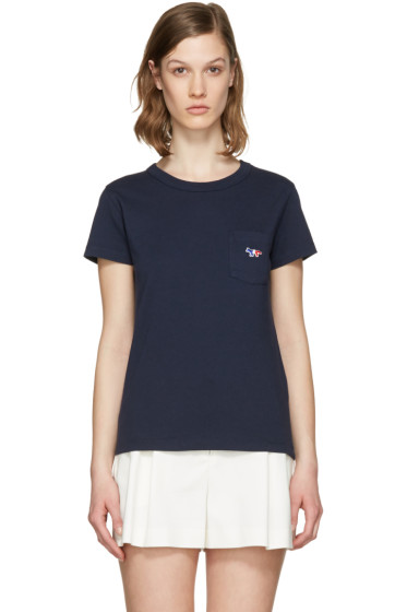 Maison Kitsuné - Navy Tricolor Fox Patch T-Shirt