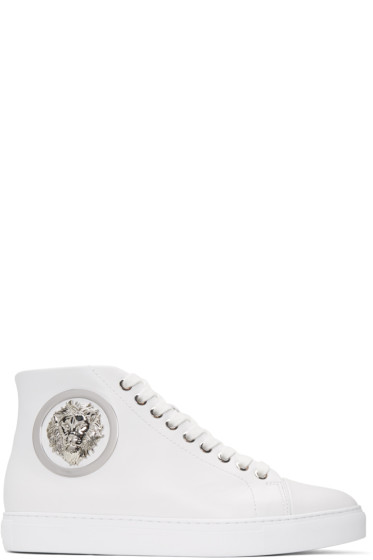 Versus - White Lion Medallion Mid-Top Sneakers