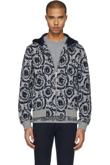 Versace - Grey & Navy Baroque Hoodie
