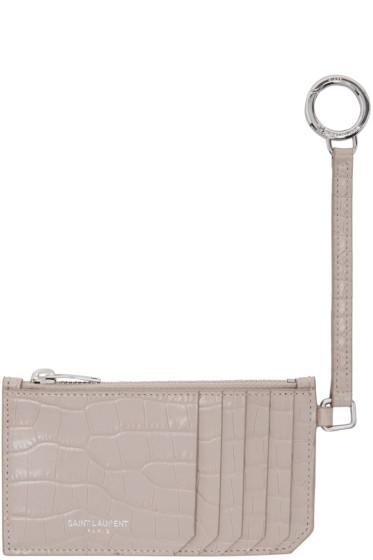 Saint Laurent - Pink Croc-Embossed 5 Fragments Keyring Zip Card Holder