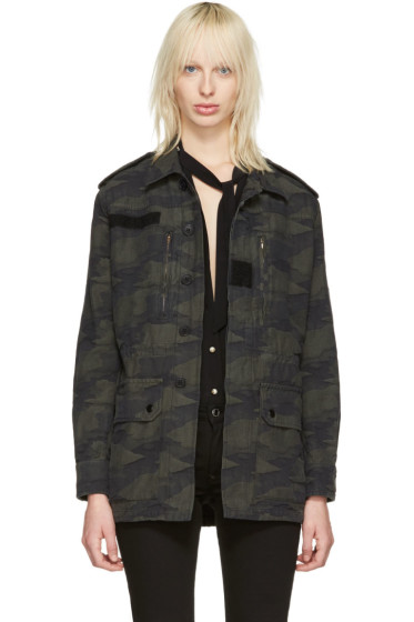 Saint Laurent - Green Camo Military Jacket