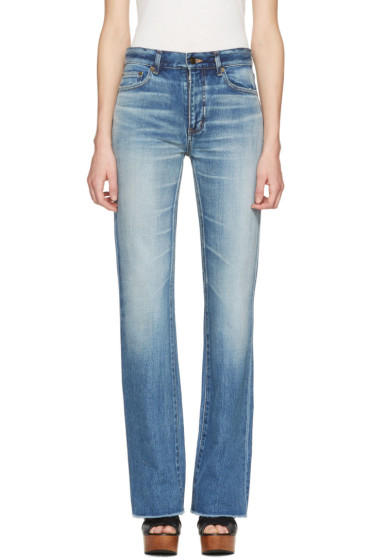 Saint Laurent - Blue Cropped Flared Jeans