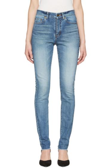 Saint Laurent - Blue Mid Waist Skinny Jeans