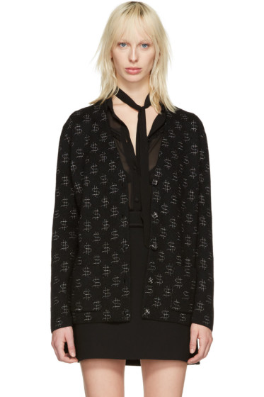 Saint Laurent - Black Dollar Sign Oversized Cardigan