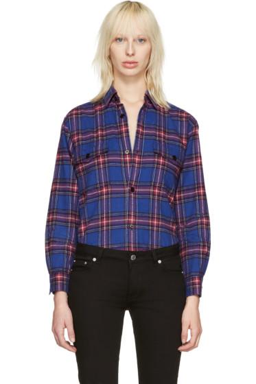 Saint Laurent - Blue Check Oversized Shirt