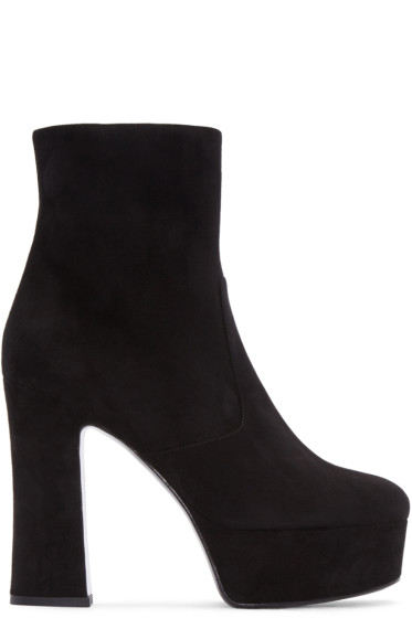 Saint Laurent - Black Suede Candy Boots