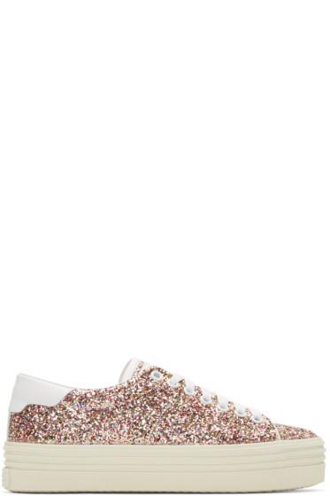 Saint Laurent - Multicolor Glitter Platform Court Classic Sneakers