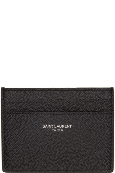 Saint Laurent - Black Grained Leather Card Holder