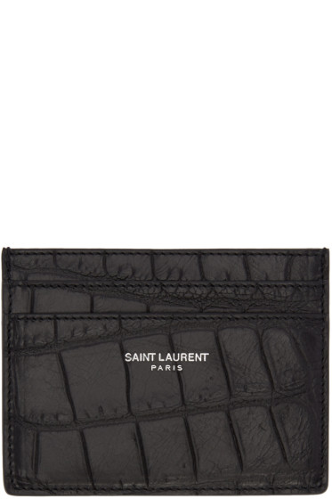 Saint Laurent - Black Classic Croc-Embossed Card Holder
