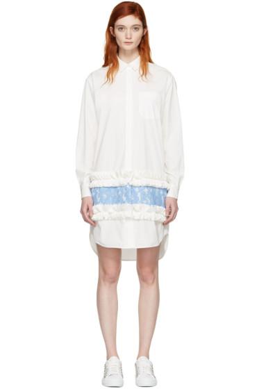 MSGM - White Ruffle & Lace Shirt Dress