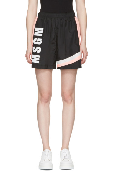 MSGM - Black Colorblocked Logo Shorts