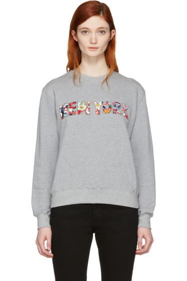 MSGM - Grey Embroidered 'New York' Pullover