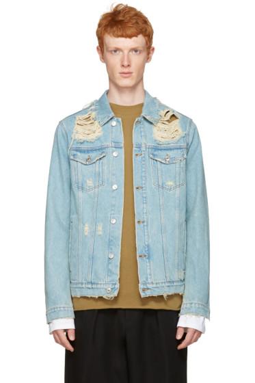 MSGM - Blue Denim Destroyed Jacket
