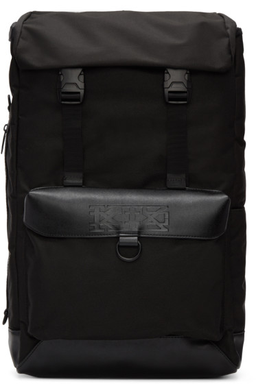 KTZ - Black Leather Flap Backpack