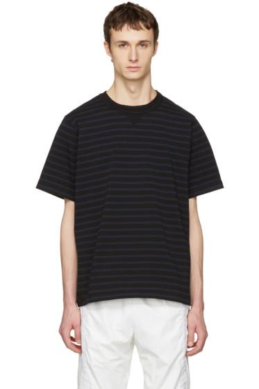 Sacai - Black Striped Dixie Border T-Shirt