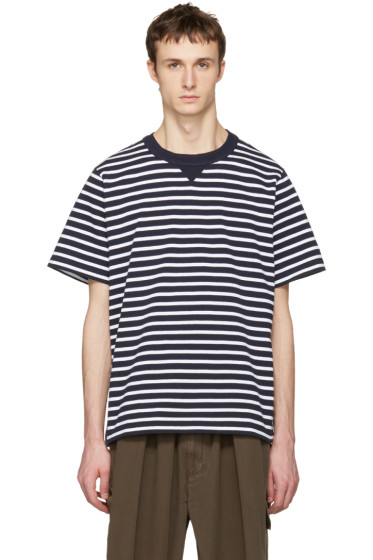 Sacai - Navy Striped Dixie Border T-Shirt