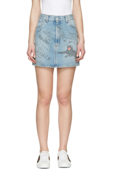 Gucci - Blue Denim Scribble Miniskirt