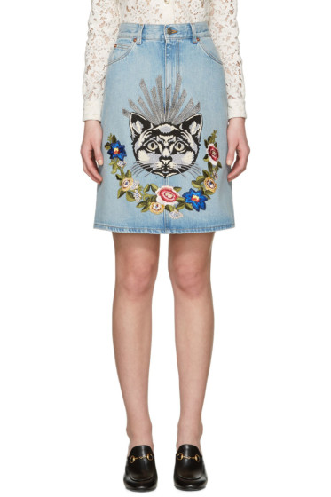 Gucci - Blue Denim Embroidered Skirt