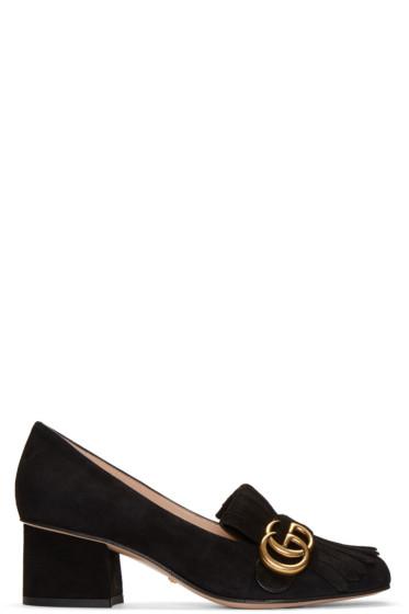 Gucci - Black Fringe Marmont Loafer Heels