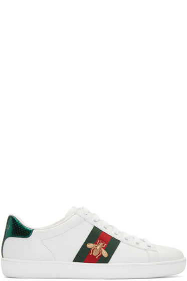 Gucci - White Leather Bee Stripe New Ace Sneakers