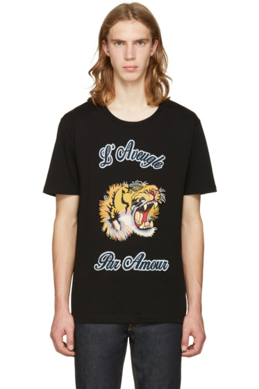 Gucci - Black Tiger Appliqué T-Shirt