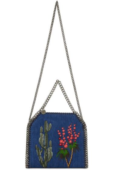 Stella McCartney - Blue Denim Mini Embroidered Falabella Tote