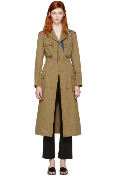 Valentino - Green Embroidered Army Coat
