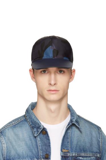 Valentino - Blue Nylon Camo Star Cap