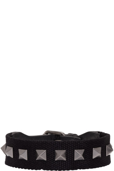 Valentino - Black Textile Rockstud Bracelet