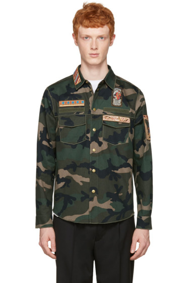 Valentino - Green Embroidered Camo Jacket