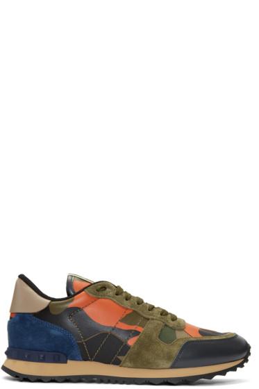 Valentino - Green & Orange Camo Rockrunner Sneakers